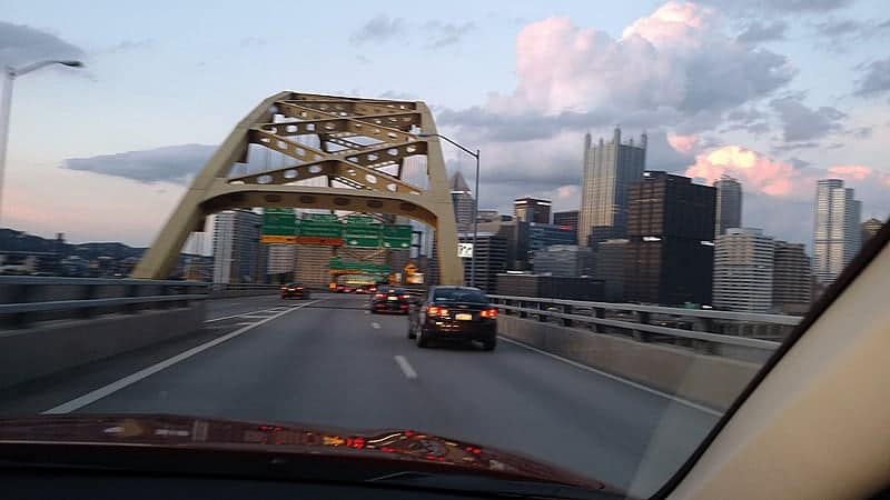 Coming out of the tunnel and seeing downtown Pittsburgh ~ Mitsubishi Outlander Drive Experience June 2015 cupcakesandcrinoline.com
