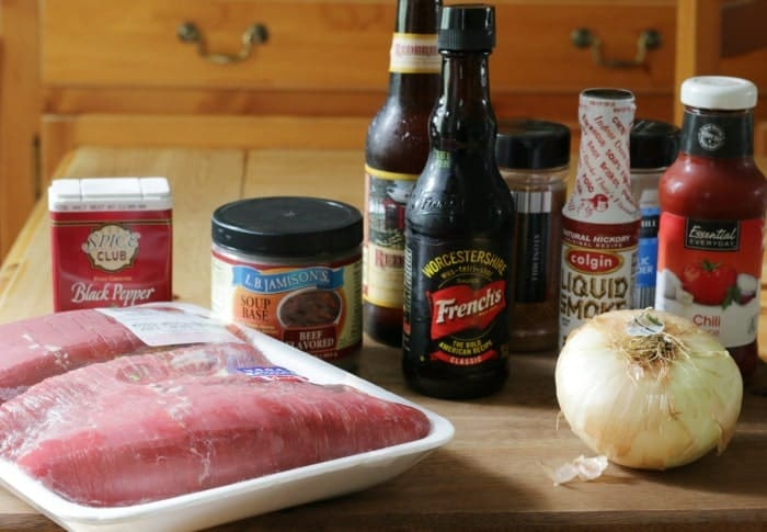 Ingredients on table to make a Grilled Texas-Style Flank Steak