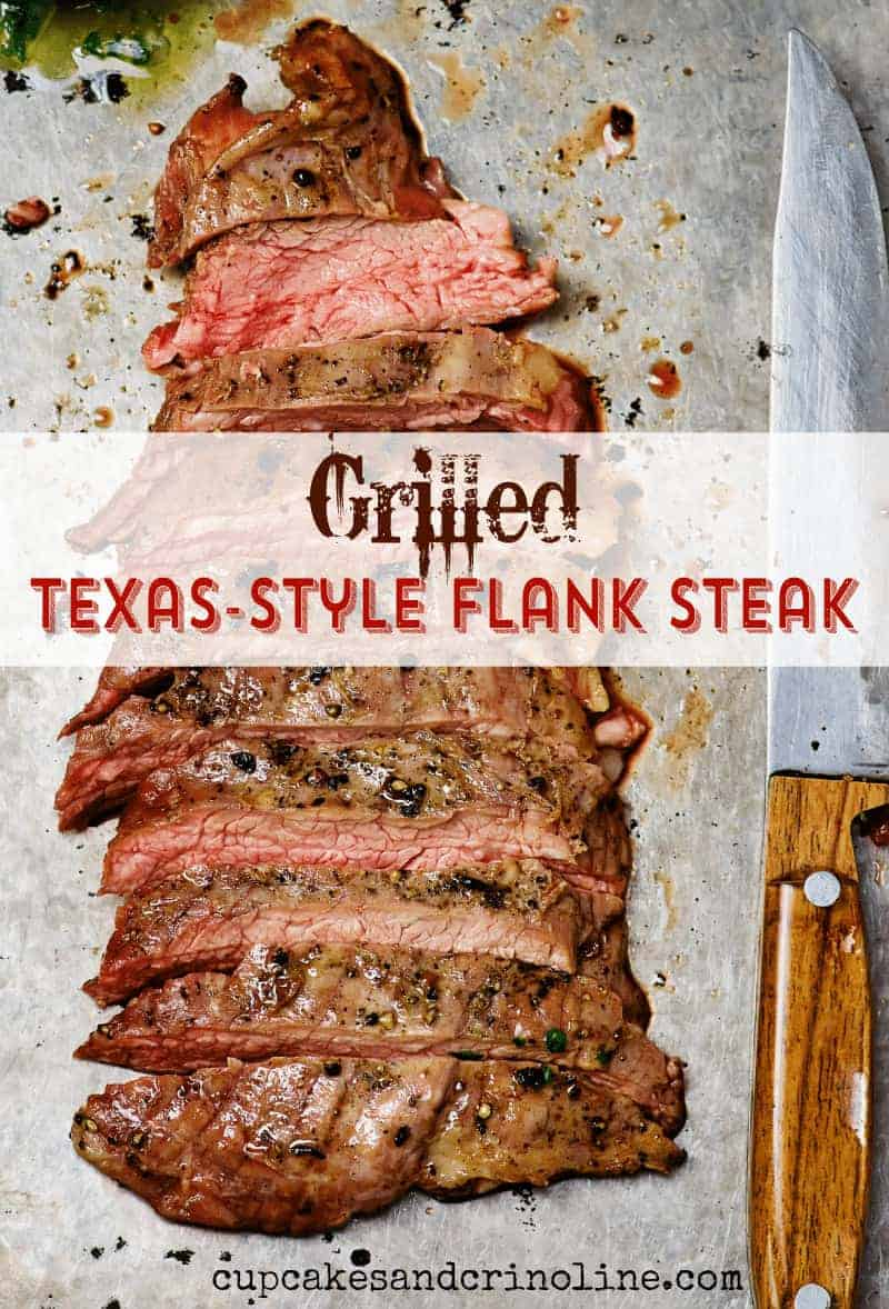 Texas-Style Flank Steak on cookie sheet sliced with knife