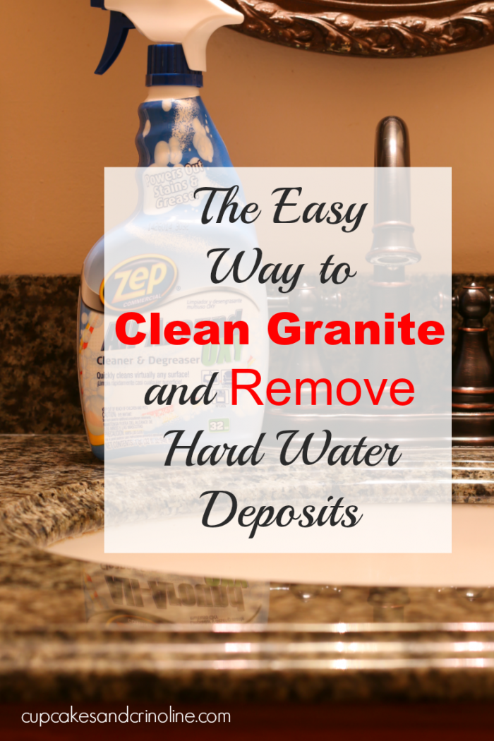 The easiest way I've found to clean granite and remove hard water deposits from it as well #ZepSocialstars AD cupcakesandcrinoline.com