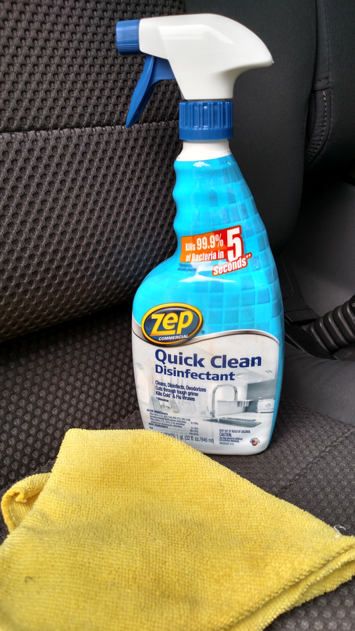 25 things you should be disinfecting but probasbly aren't - Cleaning the car interior with Zep Quick Clean Disinfectant - get the complete list at cupcakesandcrinoline.com