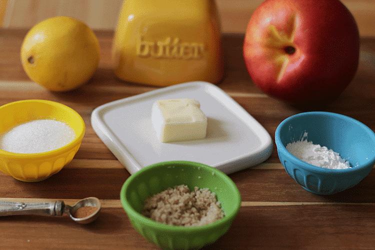 Peach Pocket Pie Recipe -Peach Pie ingredients on cutting board