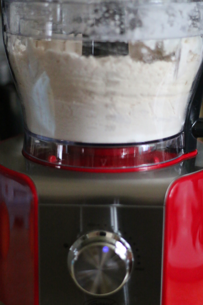 Peach pie dough in food processor