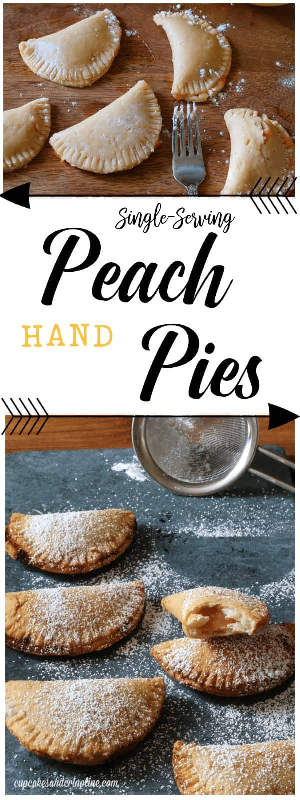 Peach Pie Pocket Recipe - Peach pies- small hand pies before baking and then after baking sprinkled with powdered sugar.