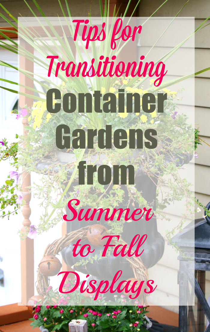 Tips for transitioning container garden from summer to fall displays at cupcakesandcrinoline.com