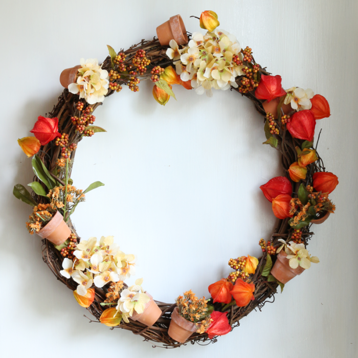 DIY Fall Wreath on white wall squared