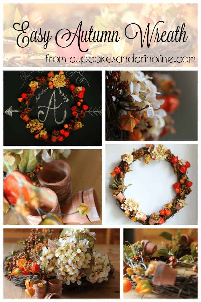 Easy Autumn Wreath tutorial from cupcakesandcrinoline.com