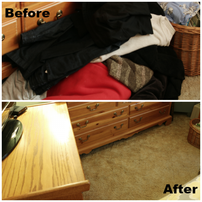 Floor Before and After KonMari