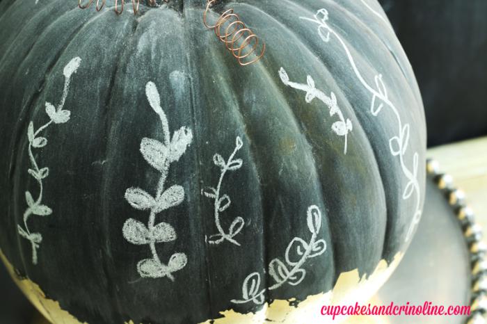 Gilded Chalkboard Pumpkin Closeup of Finished Pumpkin at cupcakesandcrinoline.com