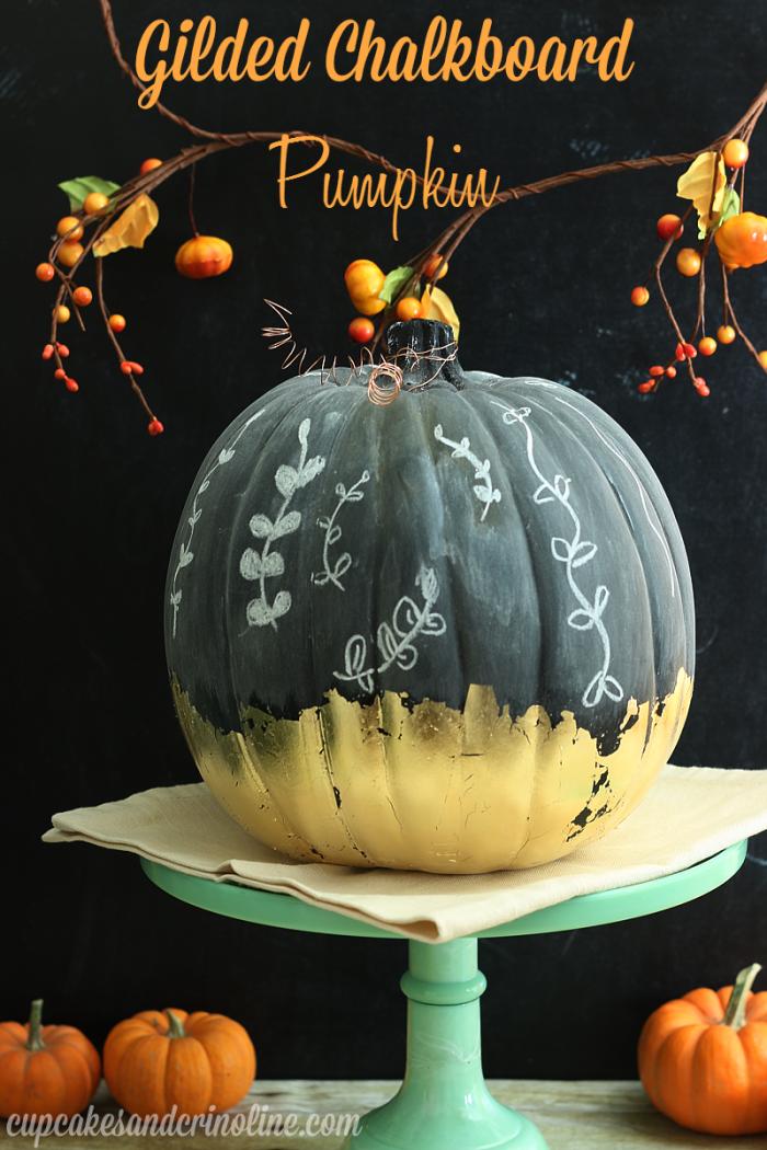 Gilded Chalkboard Pumpkin DIY from cupcakesandcrinoline.com