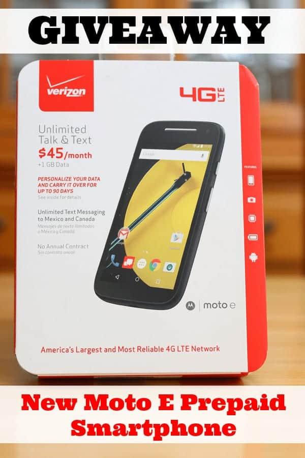 Giveaway New Moto E Prepaid Smartphone from cupcakesandcrinoline.com