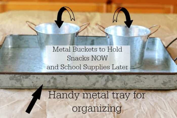 Sturdy Metal Tray and Buckets for Holding Supplies Now and Later