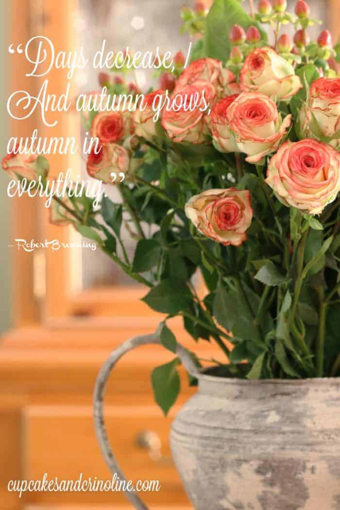 """Days decrease, And autumn grows, autumn in everything."" ― Robert Browning - Autumn Floral Bouquet at cupcakesandcrinoline.com"