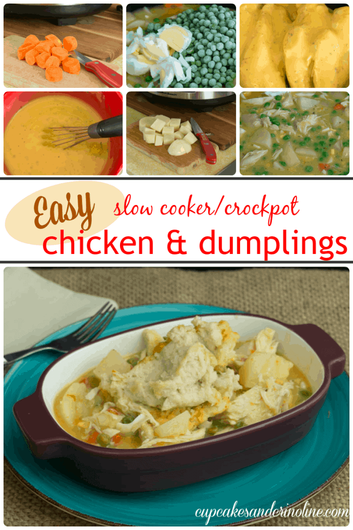 Cupcakes and Crinoline Comfort Food is easy with this slow cooker crockpot chicken and dumplings recipe. It's hearty and delicious and a family favorite.