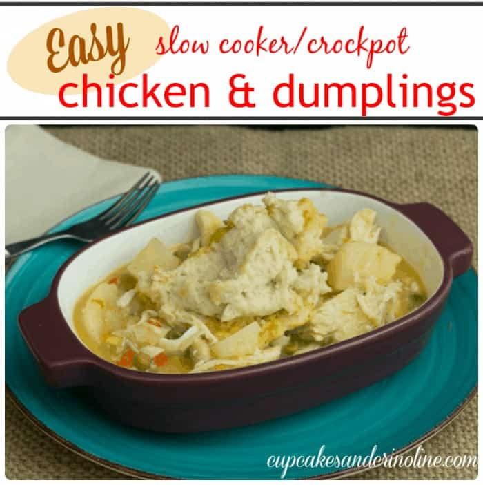 Cupcakes and Crinoline: Comfort Food is easy with this slow cooker crockpot chicken and dumplings recipe. It's hearty and delicious and a family favorite.