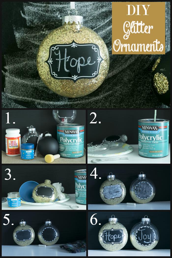 DIY glitter ornaments from cupcakesandcrinoline.com