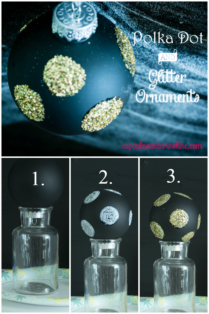 DIY Polka Dot Glitter Christmas Ornaments from cupcakesandcrinoline.com