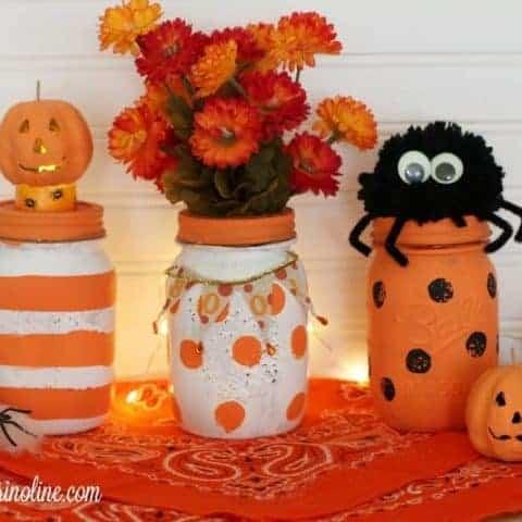 Polka Dot and Striped Halloween Mason Jars