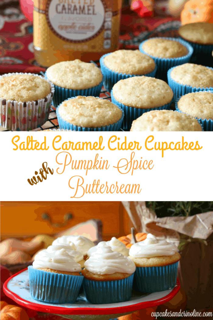 Salted Caramel Cider Cupcakes with Pumpkin Spice Buttercream Frosting from cupcakesandcrinoline.com