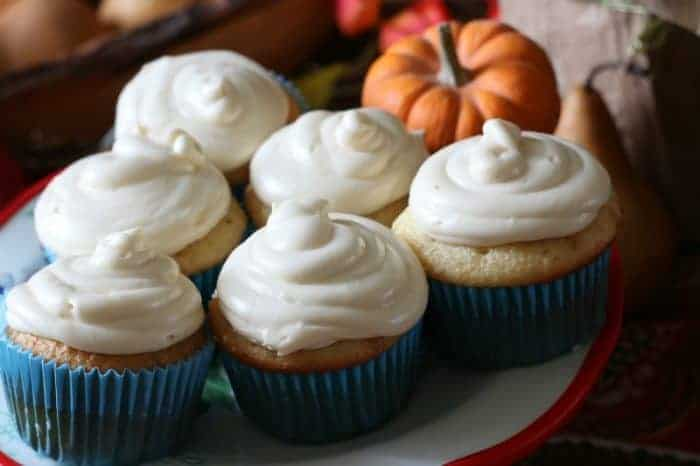Salted Caramel Cider Cupcakes with Pumpkin Spice Syrup Cream Cheese Buttercream Frosting cupcakesandcrinoline.com