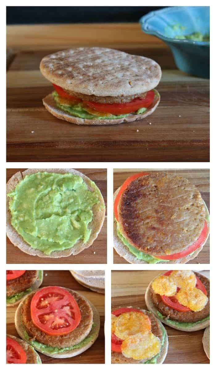 Soy Protein Veggie Burger with Avocado Spread from cupcakesandcrinoline.com