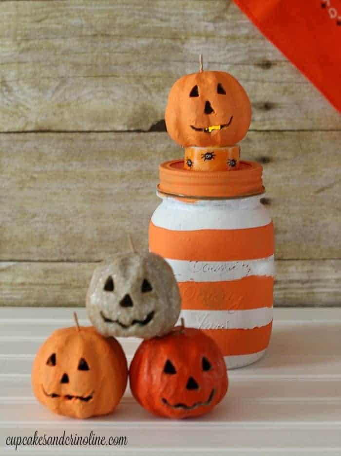 Striped Halloween Mason Jar
