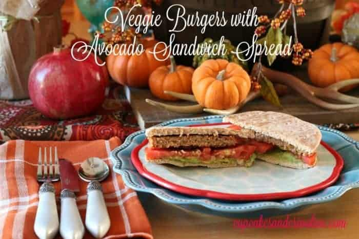 Veggie Burgers with Avocado Sandwich Spread from cupcakesandcrinoline.com