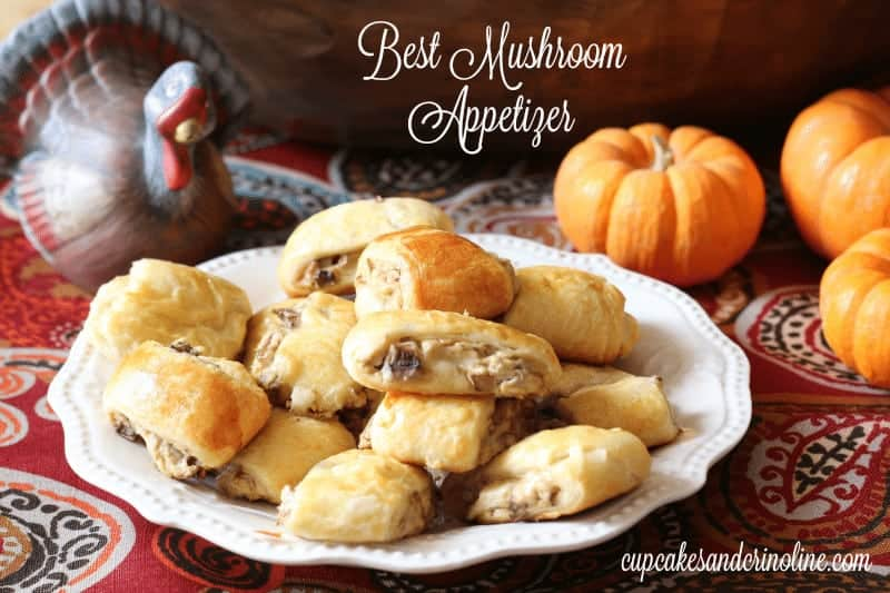 Savory and delicious cream cheese and mushroom stuffed baked crescent roll appetizers. Great as an appetizer or as a snack - serve warm to fully enjoy! from cupcakesandcrinoline.com