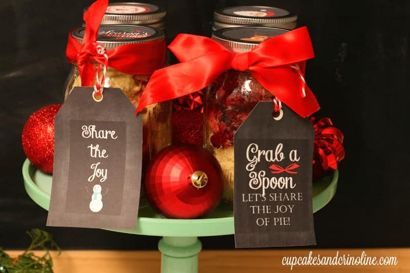 Deconstructed pie and cupcakes in mason jars with Christmas printables