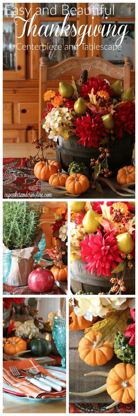 Easy and Beautiful Thanksgiving Centerpiece and Tablescape from cupcakesandcrinoline.com