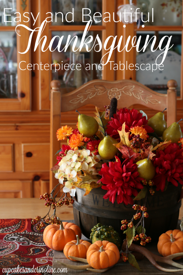 Easy and Beautiful Thanksgiving Centerpiece and Tablescape - find out more at cupcakesandcrinoline.com