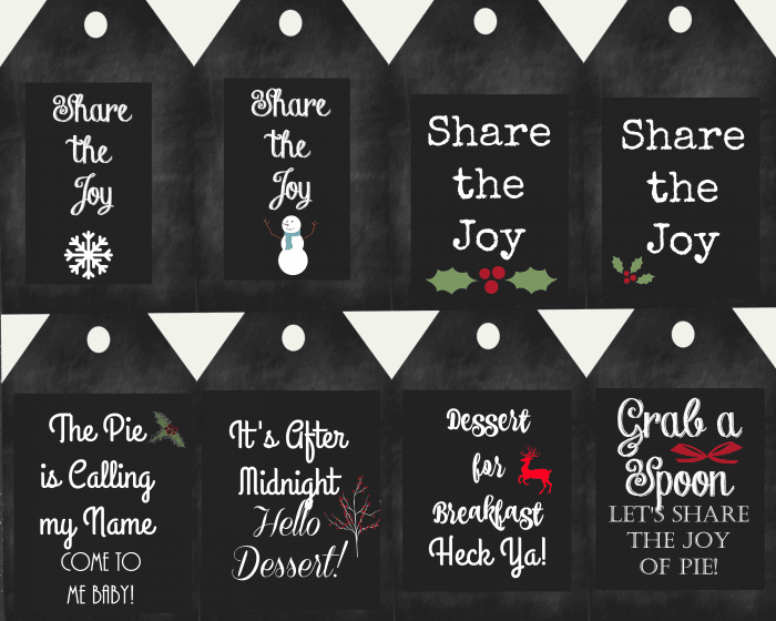 Share the Joy of Pie Dessert Tags from cupcakes and crinoline