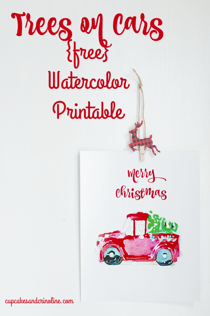 Trees on Cars Free Watercolor Printable at cupcakesandcrinoline.com