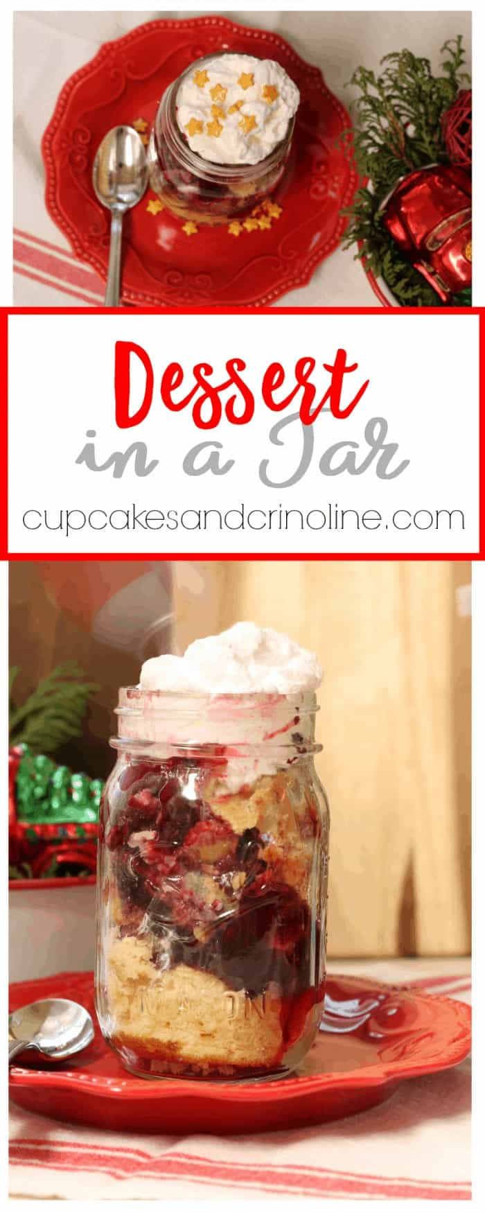 Glass mason jars filled with dessert.