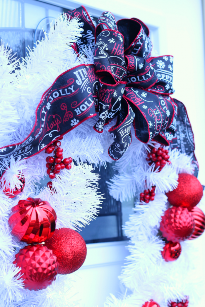 Another side view of front door Christmas wreath