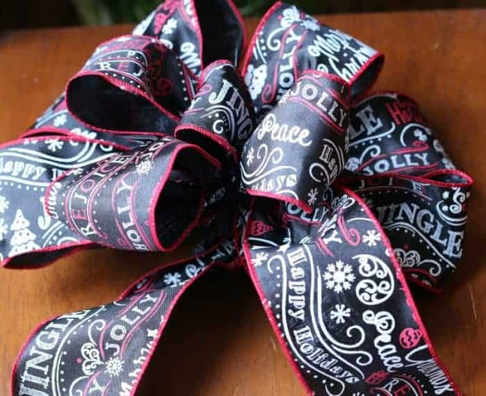 Chalkboard Ribbon Wreath Bow in black, red and white for Christmas Wreath