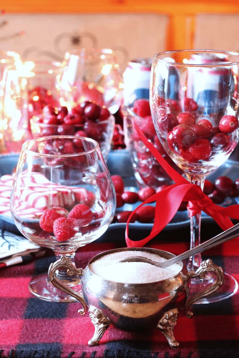 Cranberry and Raspberry Holiday Drinks Beverage Bar