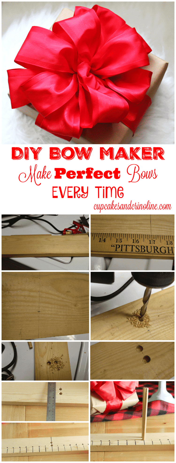 How to Make a Bow Maker Board - collage of steps used to DIY a bow maker board