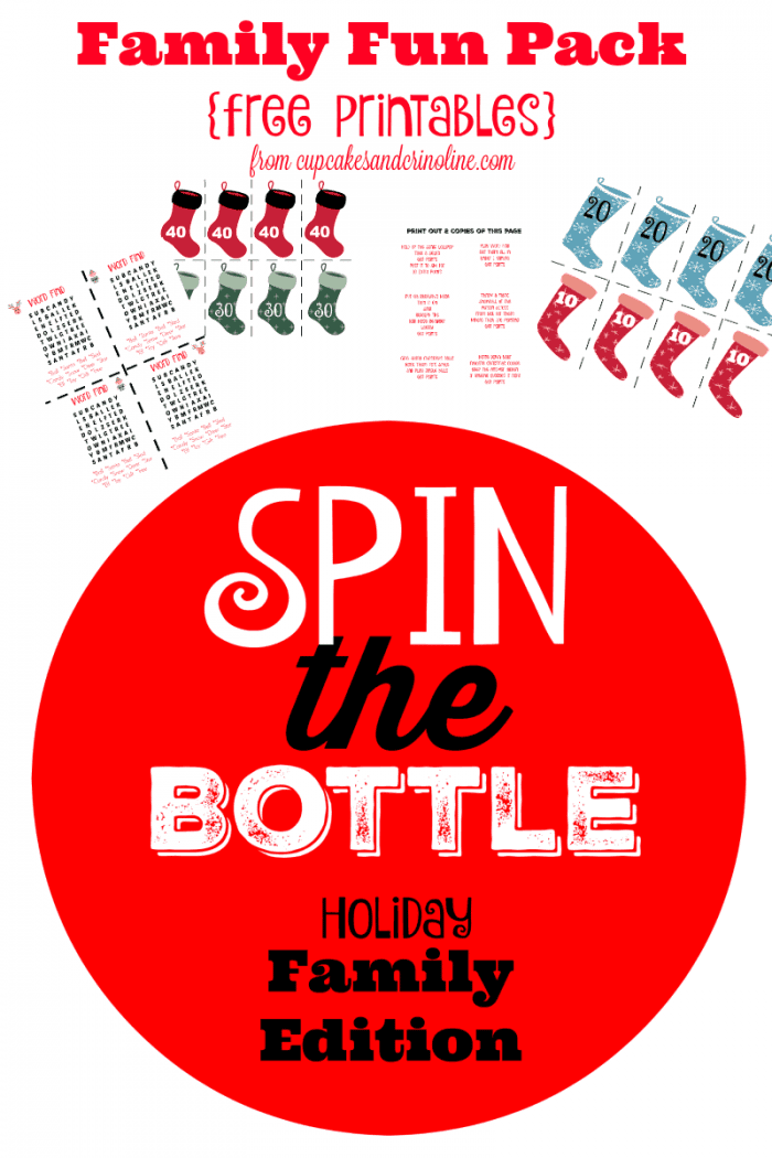 Family Fun Pack with Free Printables - Spin the Bottle Holiday Family Edition from cupcakesandcrinoline.com