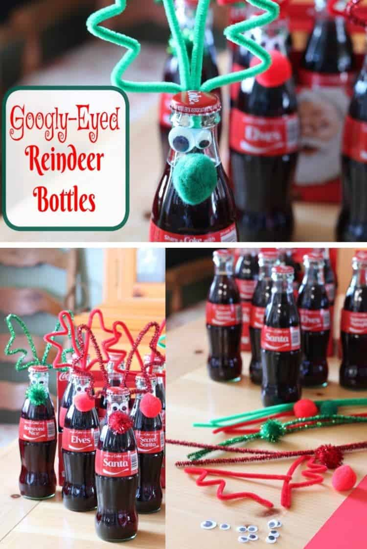 Googly Eyed Reindeer Bottles - easy to make and super cute Christmas Craft.  Get the tutorial at www.cupcakesandcrinoline.com