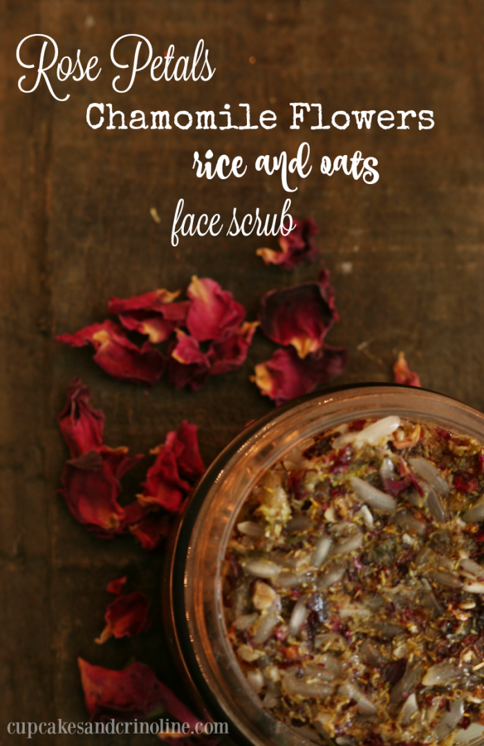 Great for your skin, DIY face scrub made with rose petals, chamomile flowers, rice and oats from cupcakesandcrinoline.com