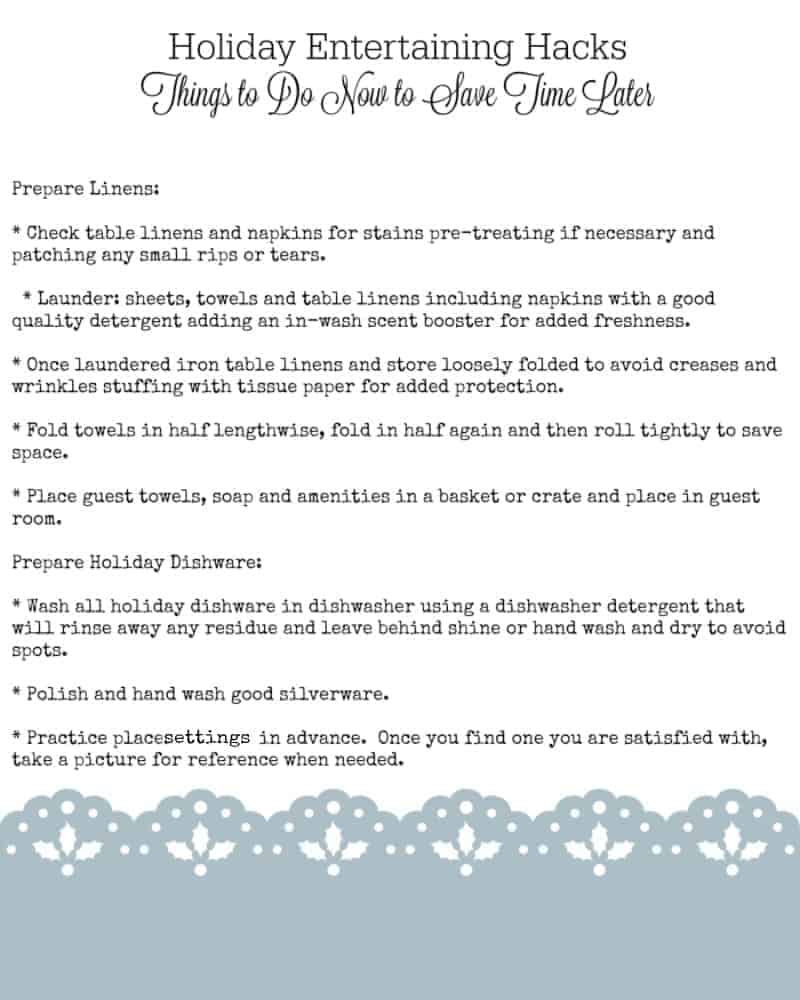 Holiday Entertaining Hacks - Things to Do Now to Save Time Later from cupcakesandcrinoline.com resized