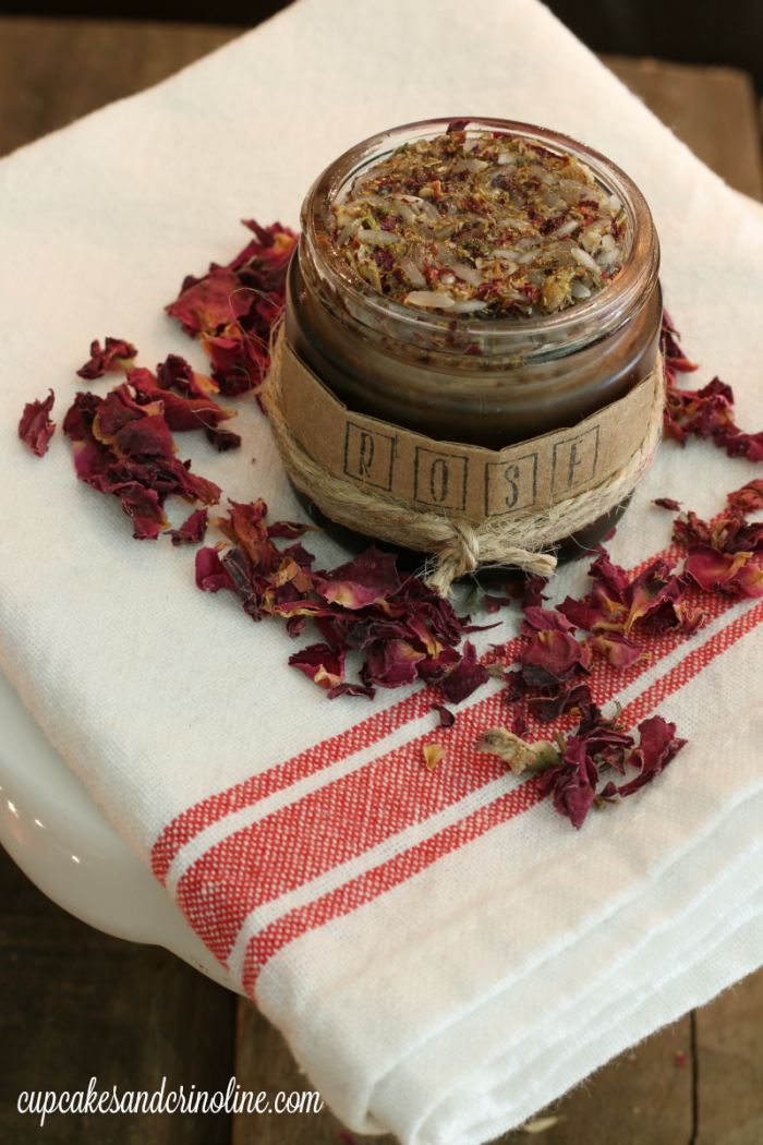 Rose Petal and Chamomile Flower Face Scrub from cupcakesandcrinoline.com