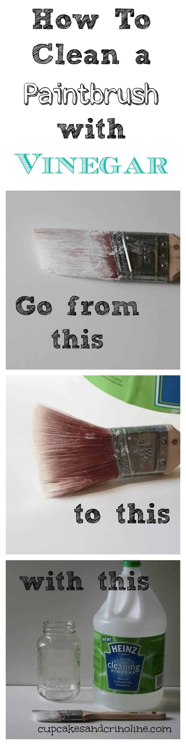 Long infographic with paintbrush before and after - how to clean a paintbrush with vinegar