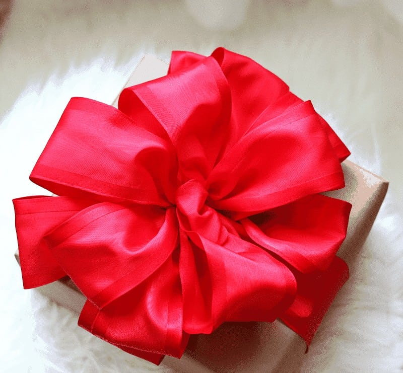 Overhead view of red ribbon - how to make a bow tutorial and video