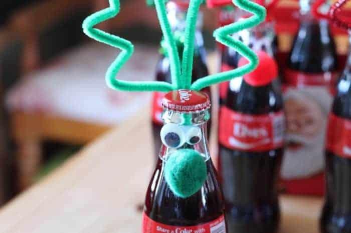 Googly eyed reindeer bottle