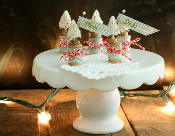 Mini Brush Tree ornaments and place card holders from cupcakesandcrinoline.com