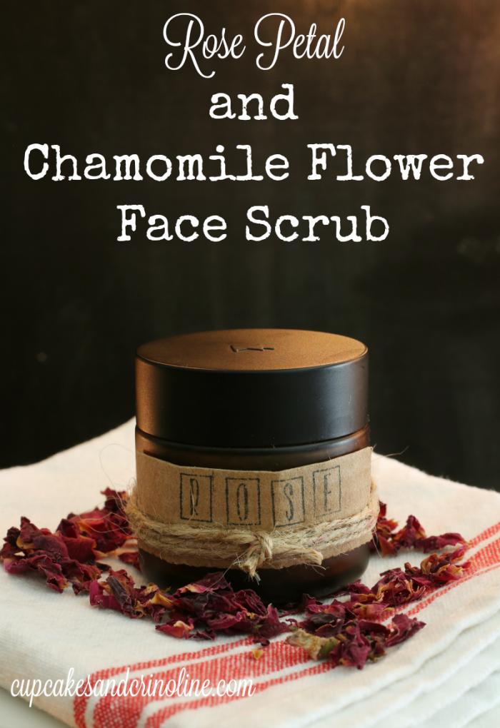 Rose Petal and Chamomile Flower Face Scrub from cupcakesandcrinoline.com