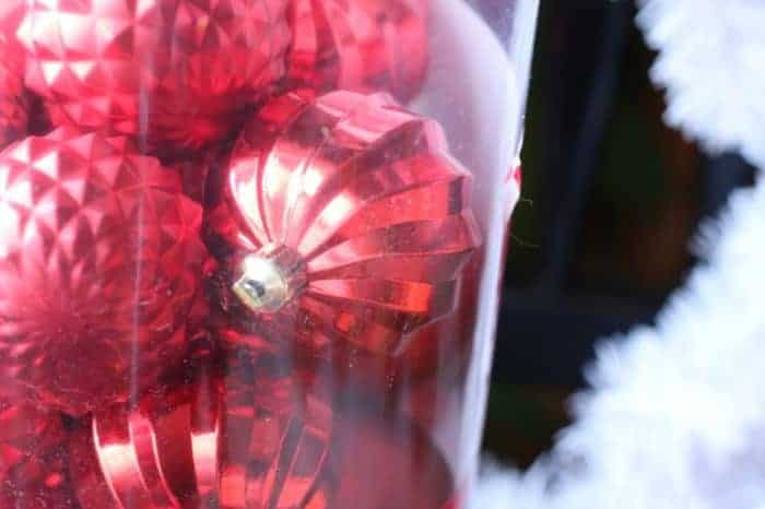 red nonbreakable ornaments from Joann Fabrics