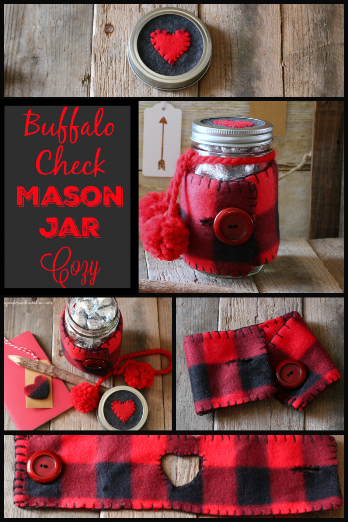 Buffalo Check Mason Jar Cozy from cupcakesandcrinoline.com